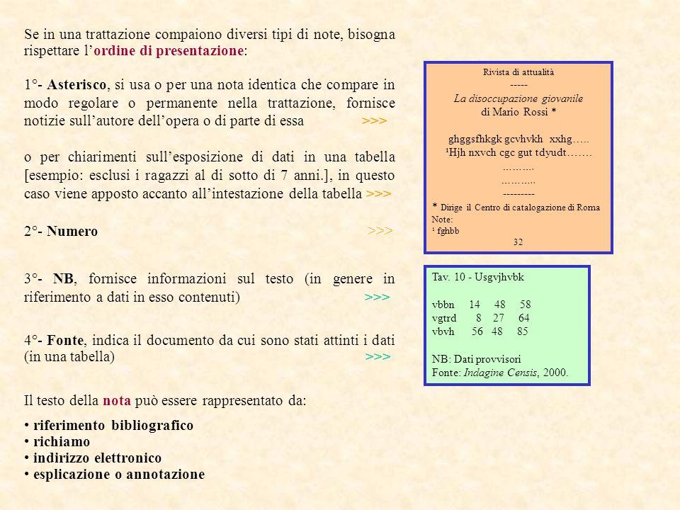 Se in una trattazione compaiono diversi tipi di note, bisogna rispettare lordine di presentazione: 1°- Asterisco, si usa o per una nota identica che c