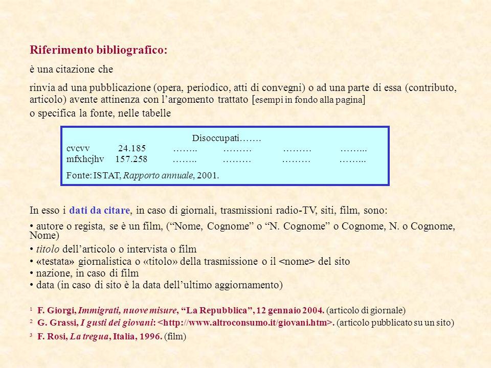 Riferimento bibliografico: è una citazione che rinvia ad una pubblicazione (opera, periodico, atti di convegni) o ad una parte di essa (contributo, ar