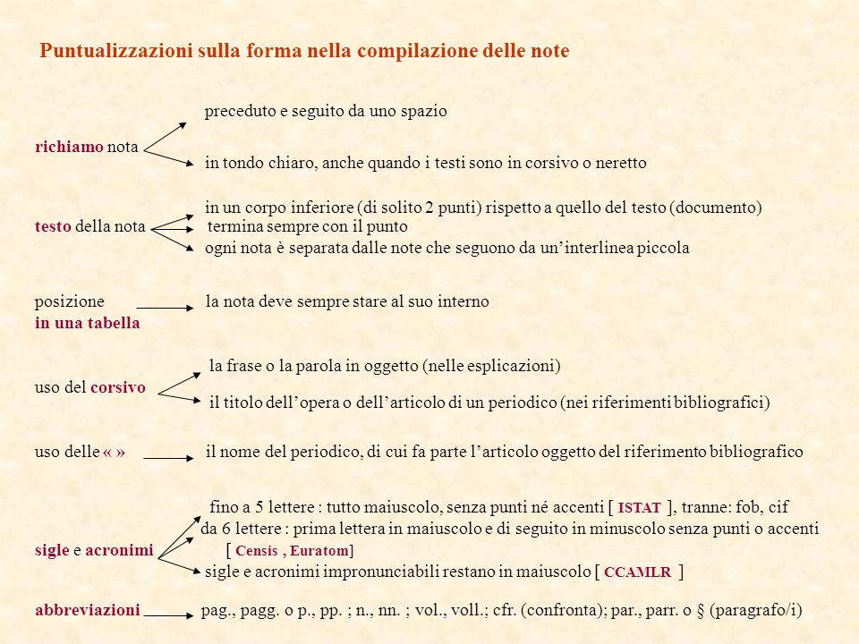 Puntualizzazioni sulla forma nella compilazione delle note preceduto e seguito da uno spazio richiamo nota in tondo chiaro, anche quando i testi sono