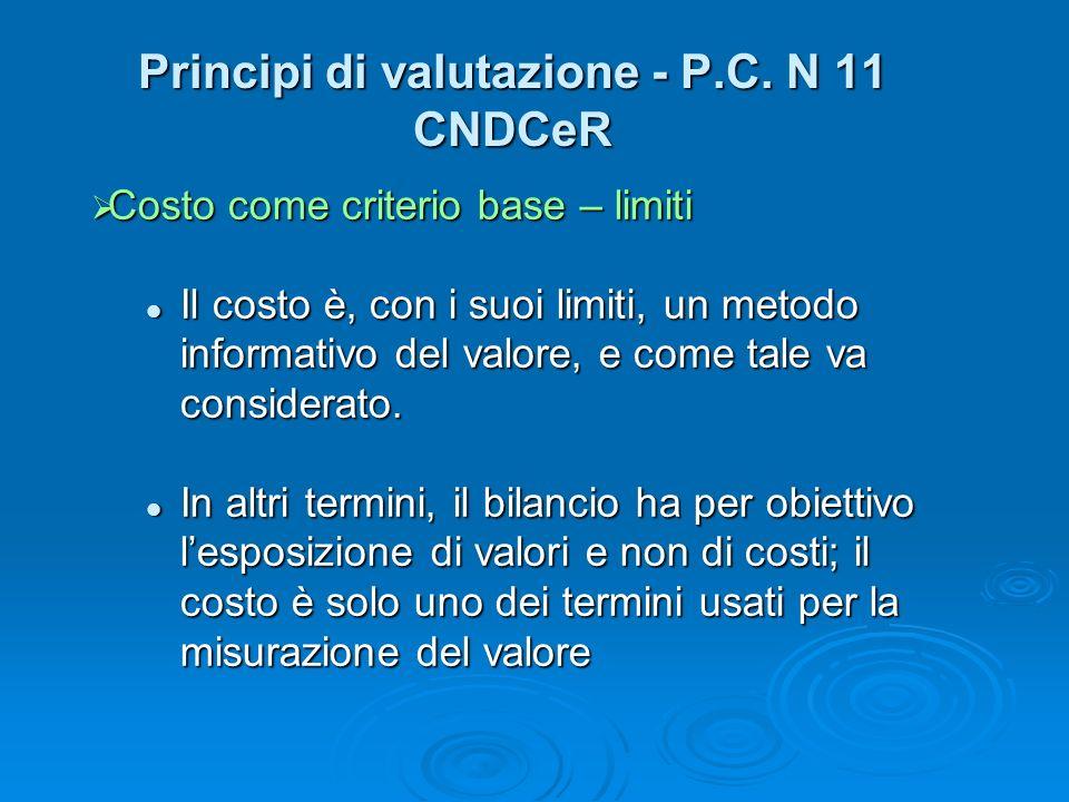 Principi di valutazione - P.C. N 11 CNDCeR Costo come criterio base – limiti Costo come criterio base – limiti Il costo è, con i suoi limiti, un metod