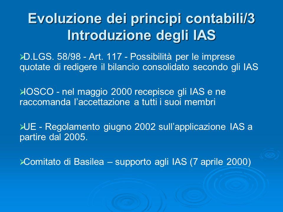 Evoluzione dei principi contabili/3 Introduzione degli IAS D.LGS. 58/98 - Art. 117 - Possibilità per le imprese quotate di redigere il bilancio consol