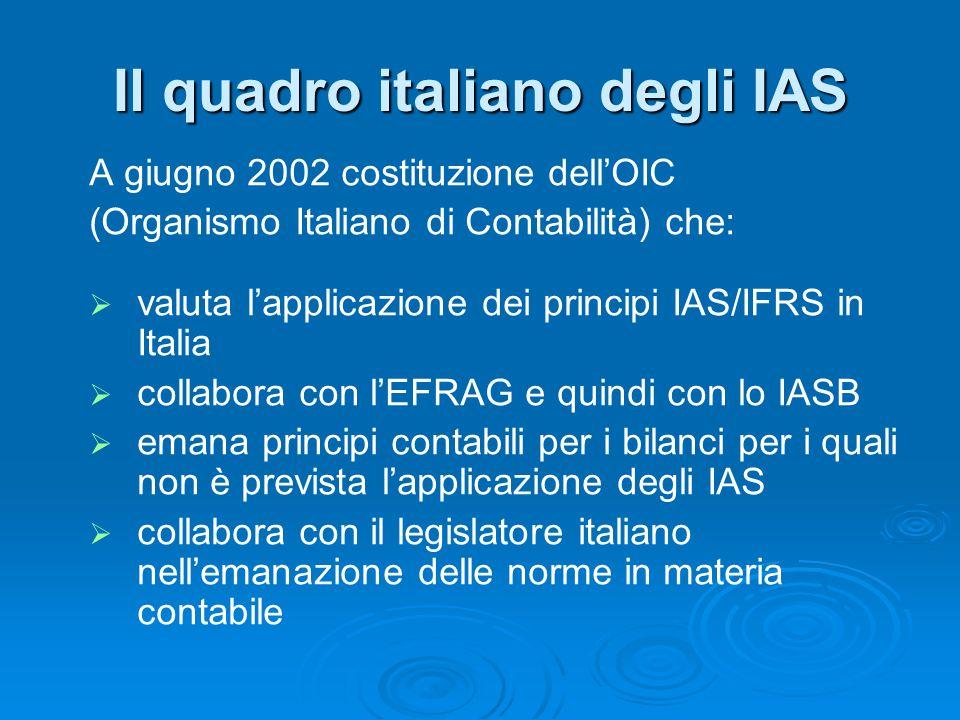Il quadro italiano degli IAS A giugno 2002 costituzione dellOIC (Organismo Italiano di Contabilità) che: valuta lapplicazione dei principi IAS/IFRS in