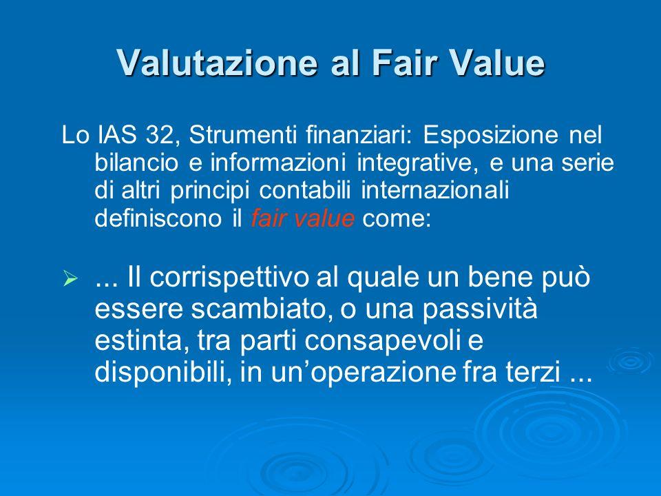 Valutazione al Fair Value Lo IAS 32, Strumenti finanziari: Esposizione nel bilancio e informazioni integrative, e una serie di altri principi contabil