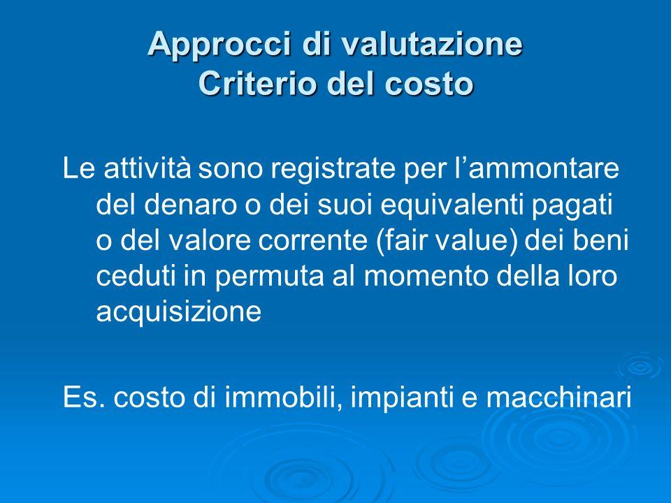 Approcci di valutazione Criterio del costo Le attività sono registrate per lammontare del denaro o dei suoi equivalenti pagati o del valore corrente (