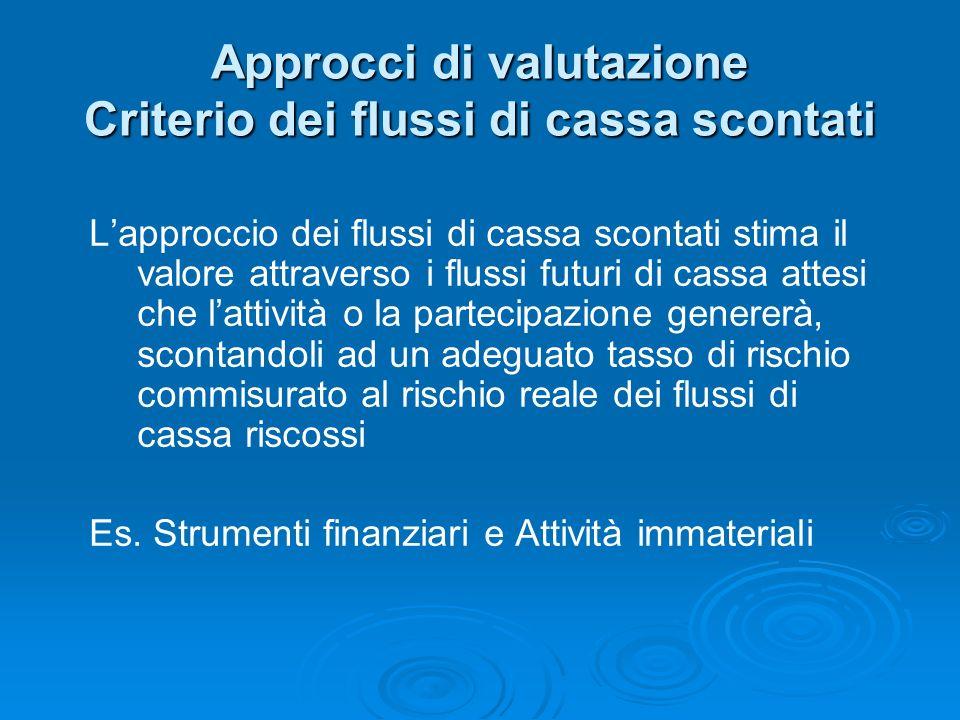 Approcci di valutazione Criterio dei flussi di cassa scontati Lapproccio dei flussi di cassa scontati stima il valore attraverso i flussi futuri di ca