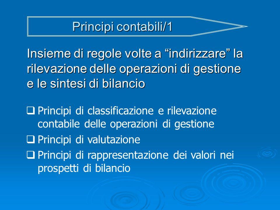Principi contabili/1 Insieme di regole volte a indirizzare la rilevazione delle operazioni di gestione e le sintesi di bilancio Principi di classifica