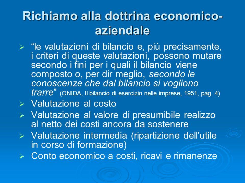 Richiamo alla dottrina economico- aziendale le valutazioni di bilancio e, più precisamente, i criteri di queste valutazioni, possono mutare secondo i