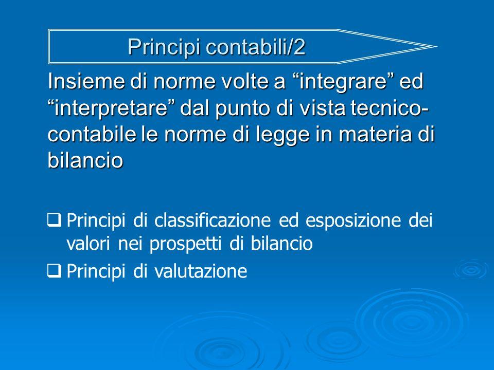 Principi contabili/2 Insieme di norme volte a integrare ed interpretare dal punto di vista tecnico- contabile le norme di legge in materia di bilancio