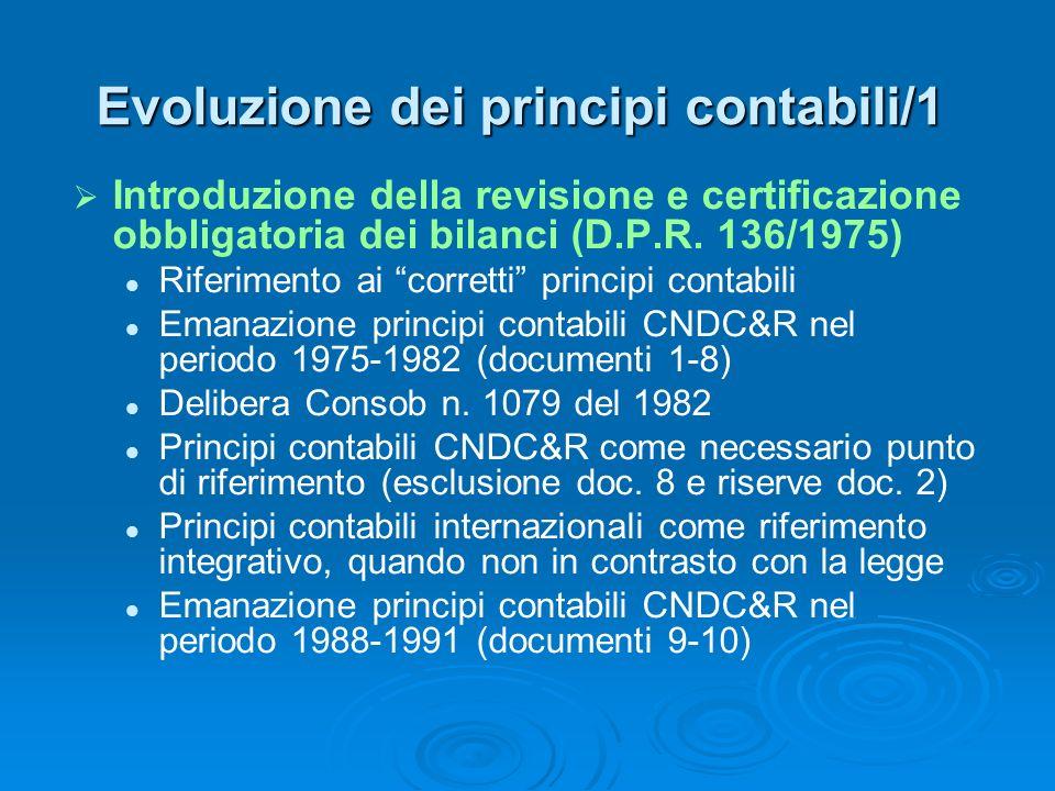 Evoluzione dei principi contabili/1 Introduzione della revisione e certificazione obbligatoria dei bilanci (D.P.R. 136/1975) Riferimento ai corretti p