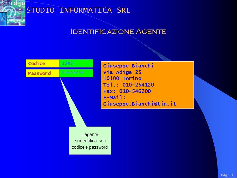 Password Codice ******** 1245 Giuseppe Bianchi Via Adige 25 10100 Torino Tel.: 010-254120 Fax: 010-546200 E-Mail: Giuseppe.Bianchi@tin.it Lagente si identifica con codice e password Pag.