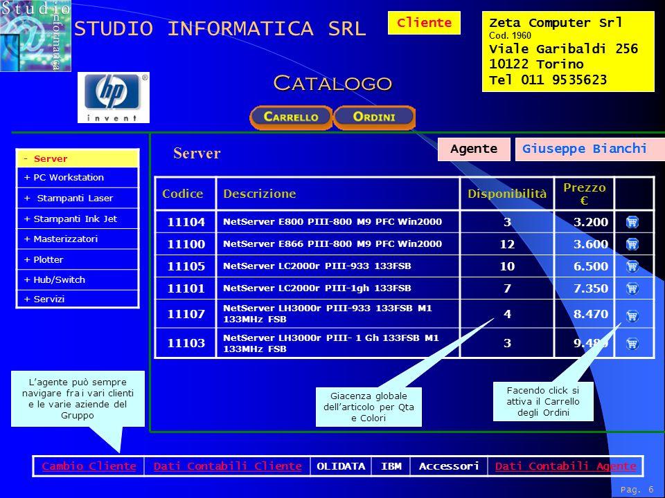 Lagente può sempre navigare fra i vari clienti e le varie aziende del Gruppo ClienteZeta Computer Srl Cod.