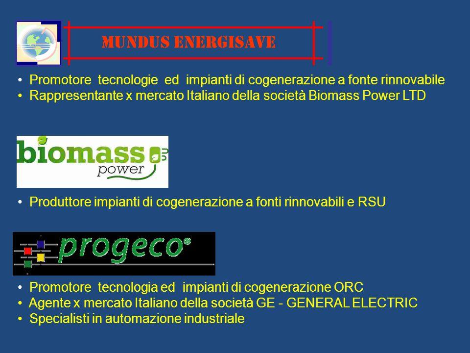 MUNDUS ENERGISAVE Promotore tecnologie ed impianti di cogenerazione a fonte rinnovabile Rappresentante x mercato Italiano della società Biomass Power