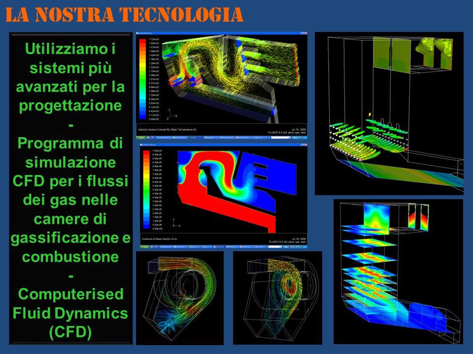 Utilizziamo i sistemi più avanzati per la progettazione - Programma di simulazione CFD per i flussi dei gas nelle camere di gassificazione e combustio