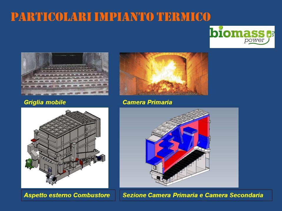 Griglia mobileCamera Primaria Aspetto esterno CombustoreSezione Camera Primaria e Camera Secondaria PARTICOLARI IMPIANTO TERMICO