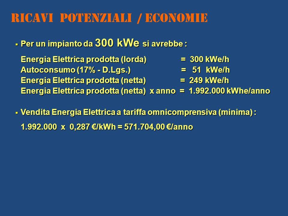 Ricavi Potenziali / Economie Per un impianto da 300 kWe si avrebbe : Per un impianto da 300 kWe si avrebbe : Energia Elettrica prodotta (lorda) = 300
