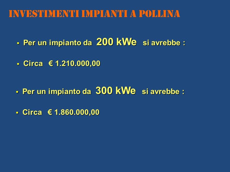 Investimenti IMPIANTI A POLLINA Per un impianto da 200 kWe si avrebbe : Per un impianto da 200 kWe si avrebbe : Circa 1.210.000,00 Circa 1.210.000,00