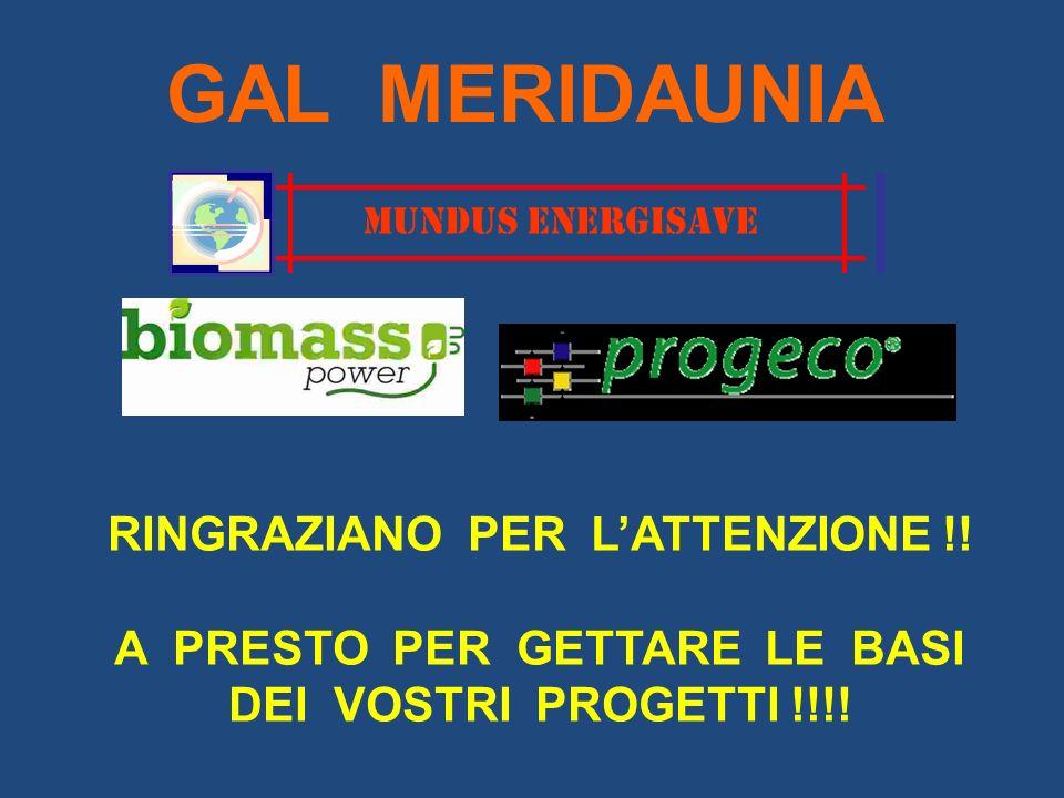 MUNDUS ENERGISAVE GAL MERIDAUNIA RINGRAZIANO PER LATTENZIONE !! A PRESTO PER GETTARE LE BASI DEI VOSTRI PROGETTI !!!!