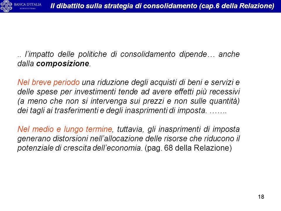 18.. limpatto delle politiche di consolidamento dipende… anche dalla composizione.