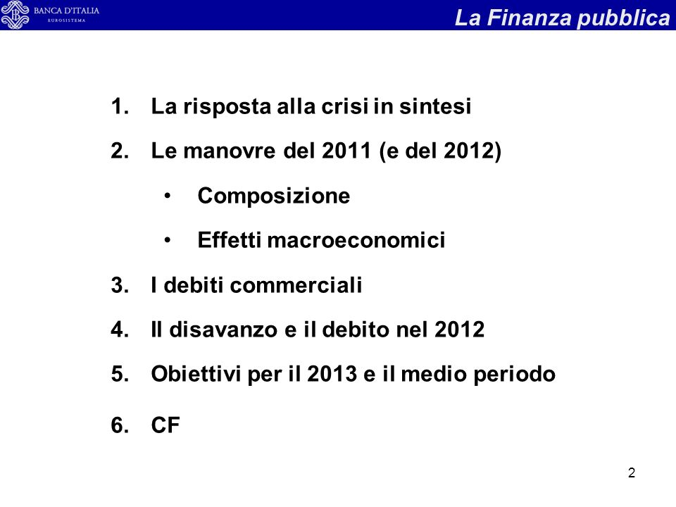 2 1.La risposta alla crisi in sintesi 2.Le manovre del 2011 (e del 2012) Composizione Effetti macroeconomici 3.I debiti commerciali 4.Il disavanzo e il debito nel 2012 5.Obiettivi per il 2013 e il medio periodo 6.CF La Finanza pubblica