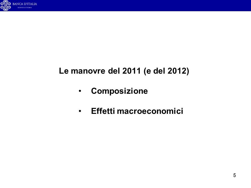 5 Le manovre del 2011 (e del 2012) Composizione Effetti macroeconomici