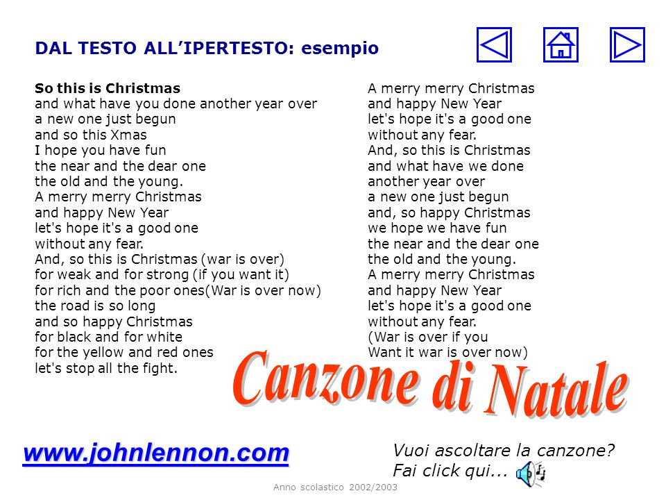 Anno scolastico 2002/2003 DAL TESTO ALLIPERTESTO: esempio So this is Christmas and what have you done another year over a new one just begun and so th