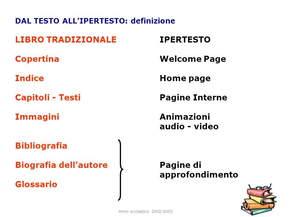 Anno scolastico 2002/2003 DAL TESTO ALLIPERTESTO: definizione LIBRO TRADIZIONALE IPERTESTO CopertinaWelcome Page IndiceHome page Capitoli - TestiPagin