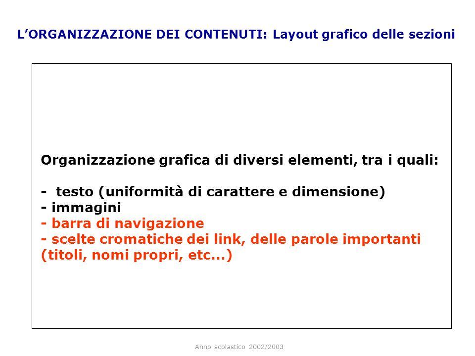 Anno scolastico 2002/2003 LORGANIZZAZIONE DEI CONTENUTI: Layout grafico delle sezioni Organizzazione grafica di diversi elementi, tra i quali: - testo