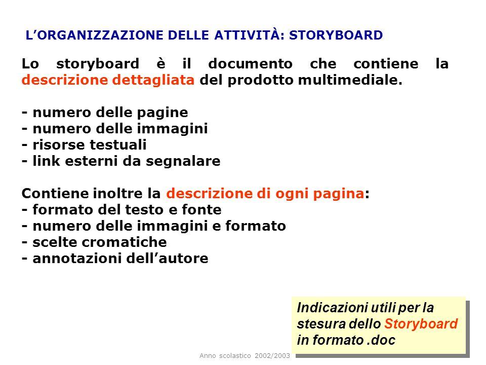Anno scolastico 2002/2003 LORGANIZZAZIONE DELLE ATTIVITÀ: STORYBOARD Lo storyboard è il documento che contiene la descrizione dettagliata del prodotto