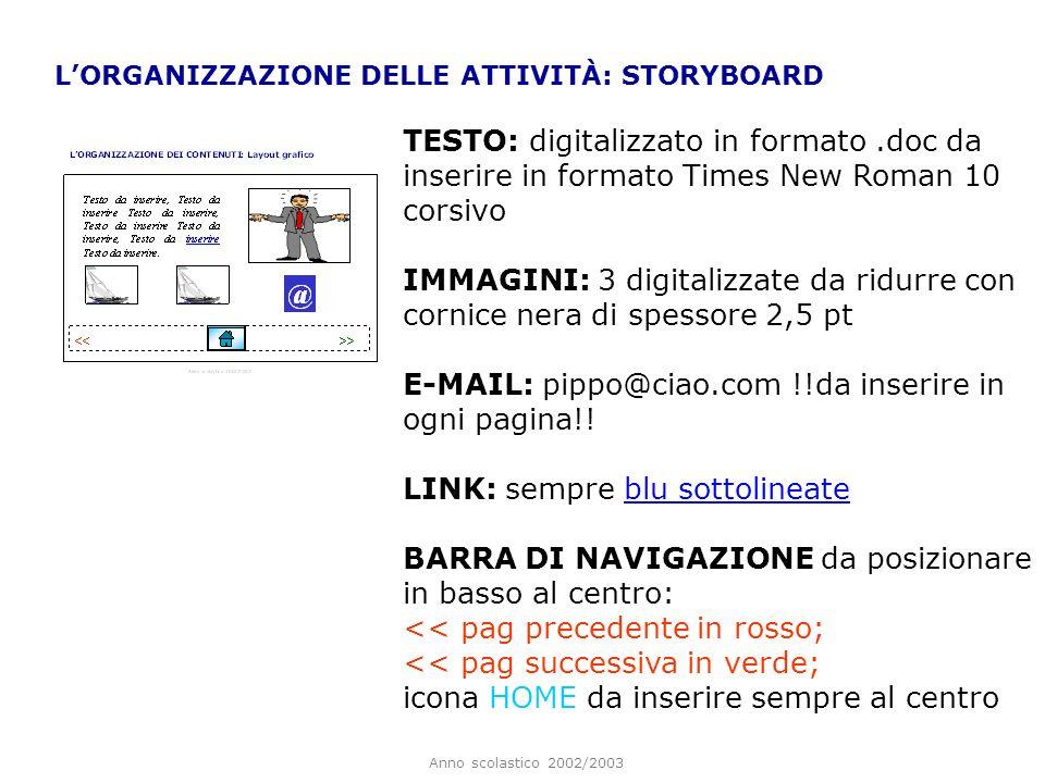 Anno scolastico 2002/2003 LORGANIZZAZIONE DELLE ATTIVITÀ: STORYBOARD TESTO: digitalizzato in formato.doc da inserire in formato Times New Roman 10 cor