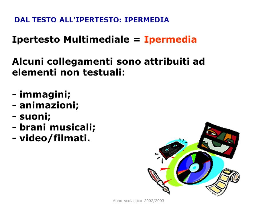 Anno scolastico 2002/2003 DAL TESTO ALLIPERTESTO: IPERMEDIA Ipertesto Multimediale = Ipermedia Alcuni collegamenti sono attribuiti ad elementi non tes