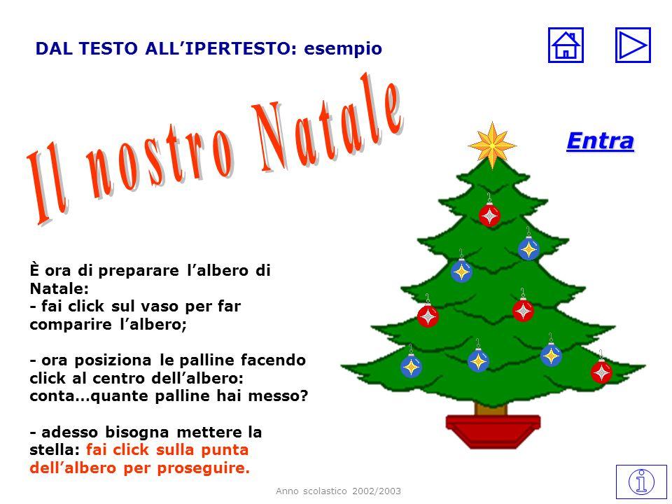 Anno scolastico 2002/2003 DAL TESTO ALLIPERTESTO: esempio È ora di preparare lalbero di Natale: - fai click sul vaso per far comparire lalbero; - ora