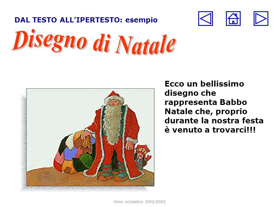 Anno scolastico 2002/2003 DAL TESTO ALLIPERTESTO: esempio Ecco un bellissimo disegno che rappresenta Babbo Natale che, proprio durante la nostra festa