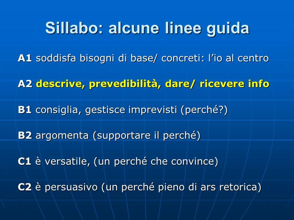 Sillabo: alcune linee guida A1 soddisfa bisogni di base/ concreti: lio al centro A2 descrive, prevedibilità, dare/ ricevere info B1 consiglia, gestisc