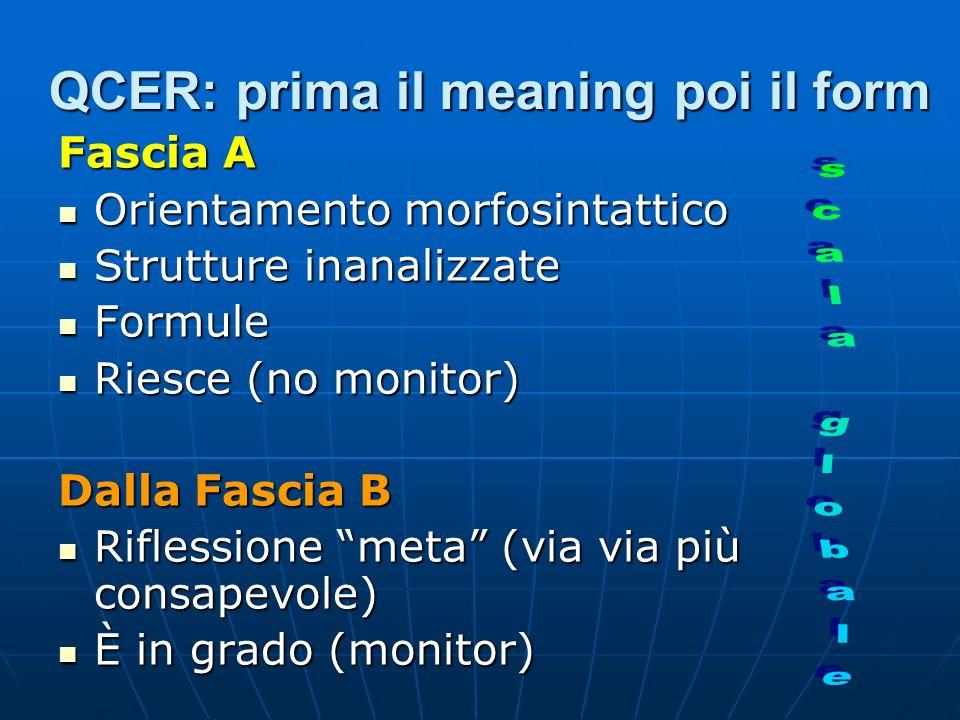 QCER: prima il meaning poi il form Fascia A Orientamento morfosintattico Orientamento morfosintattico Strutture inanalizzate Strutture inanalizzate Formule Formule Riesce (no monitor) Riesce (no monitor) Dalla Fascia B Riflessione meta (via via più consapevole) Riflessione meta (via via più consapevole) È in grado (monitor) È in grado (monitor)