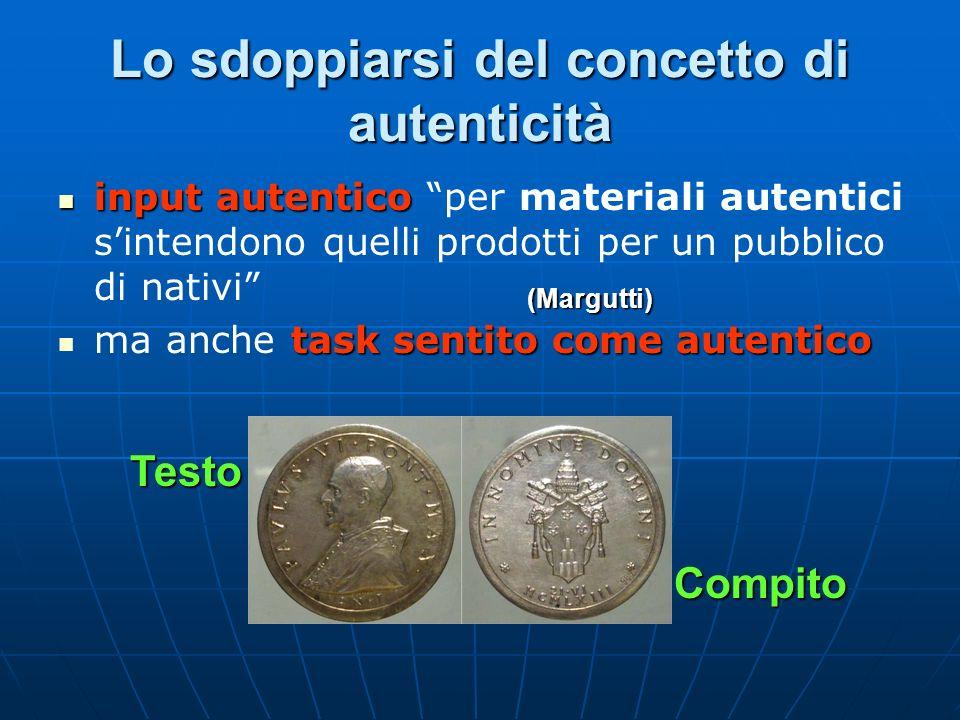 Lo sdoppiarsi del concetto di autenticità input autentico input autentico per materiali autentici sintendono quelli prodotti per un pubblico di nativi task sentito come autentico ma anche task sentito come autentico (Margutti) Testo Compito