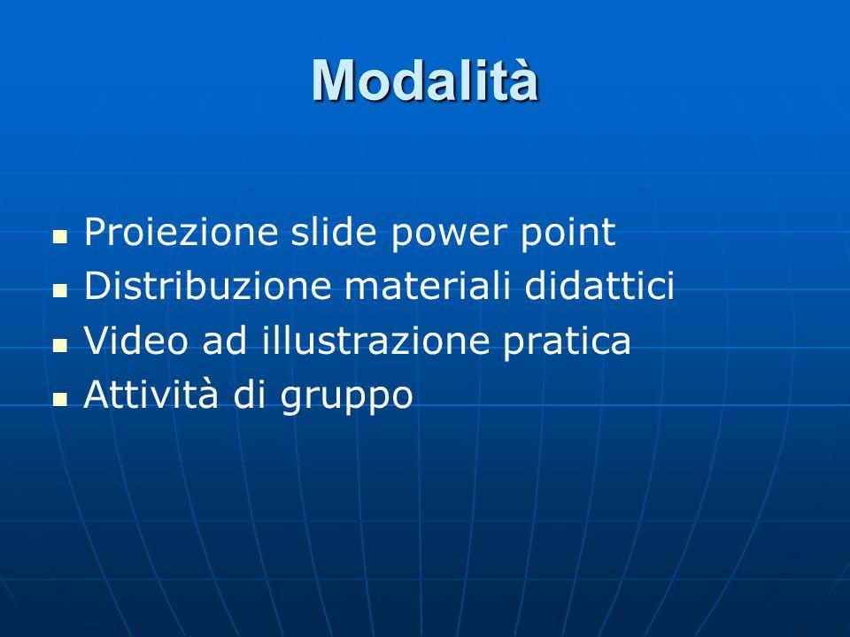 Modalità Proiezione slide power point Distribuzione materiali didattici Video ad illustrazione pratica Attività di gruppo