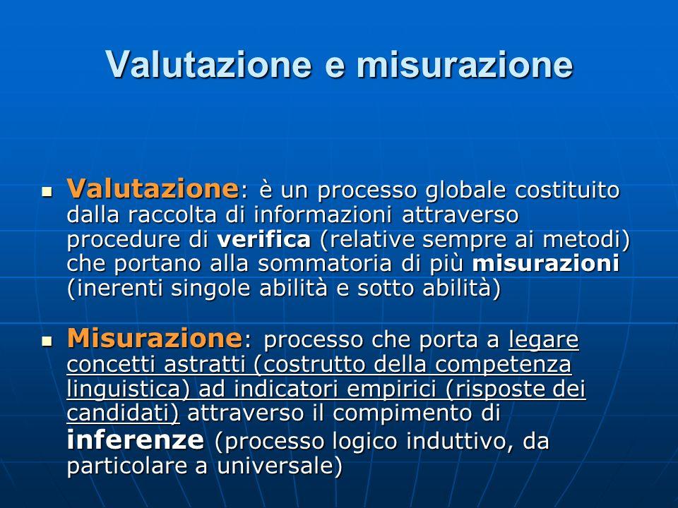 Valutazione e misurazione Valutazione : è un processo globale costituito dalla raccolta di informazioni attraverso procedure di verifica (relative sem