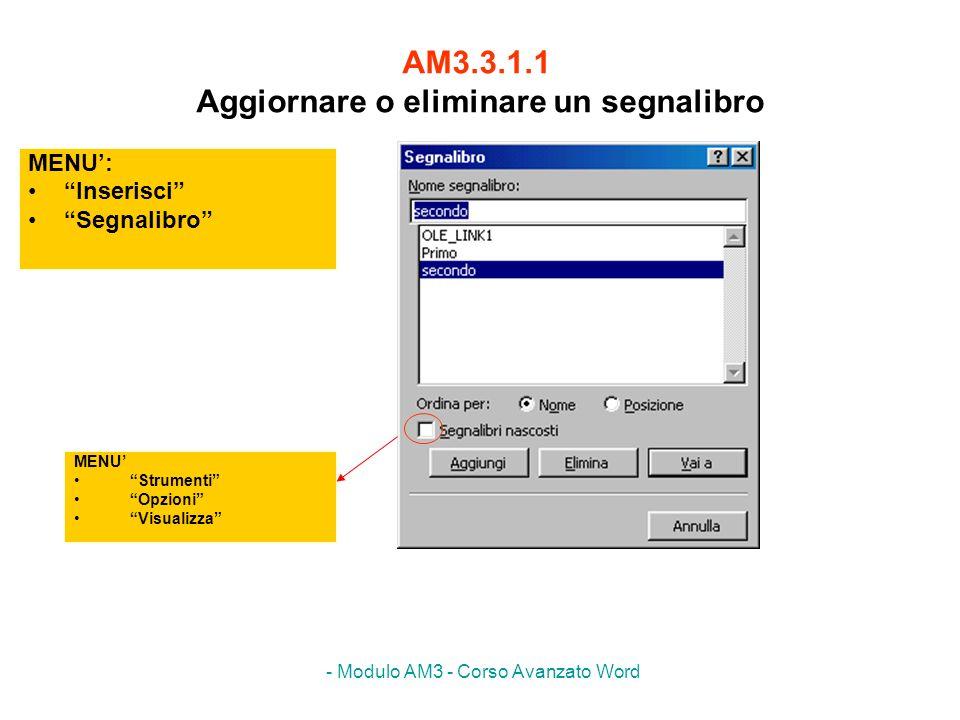 - Modulo AM3 - Corso Avanzato Word AM3.3.1.1 Aggiornare o eliminare un segnalibro MENU: Inserisci Segnalibro MENU Strumenti Opzioni Visualizza