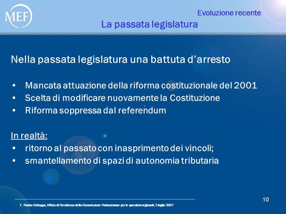 T. Padoa-Schioppa, Ufficio di Presidenza della Commissione Parlamentare per le questioni regionali; 3 luglio 2007 10 Evoluzione recente La passata leg