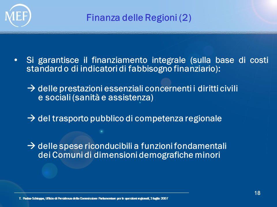 T. Padoa-Schioppa, Ufficio di Presidenza della Commissione Parlamentare per le questioni regionali; 3 luglio 2007 18 Finanza delle Regioni (2) Si gara