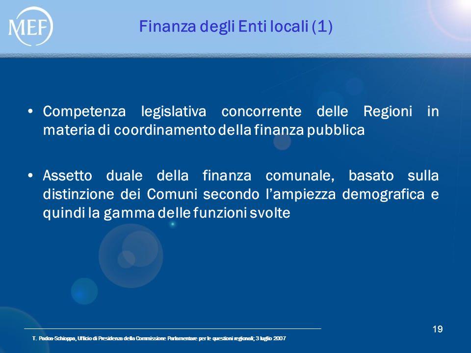 T. Padoa-Schioppa, Ufficio di Presidenza della Commissione Parlamentare per le questioni regionali; 3 luglio 2007 19 Finanza degli Enti locali (1) Com