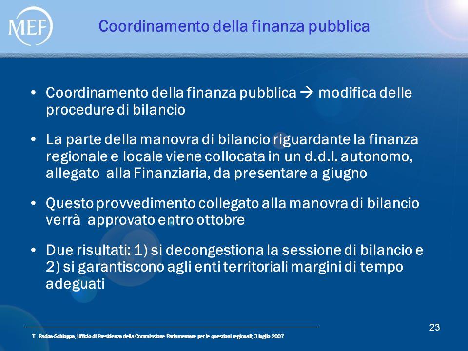 T. Padoa-Schioppa, Ufficio di Presidenza della Commissione Parlamentare per le questioni regionali; 3 luglio 2007 23 Coordinamento della finanza pubbl