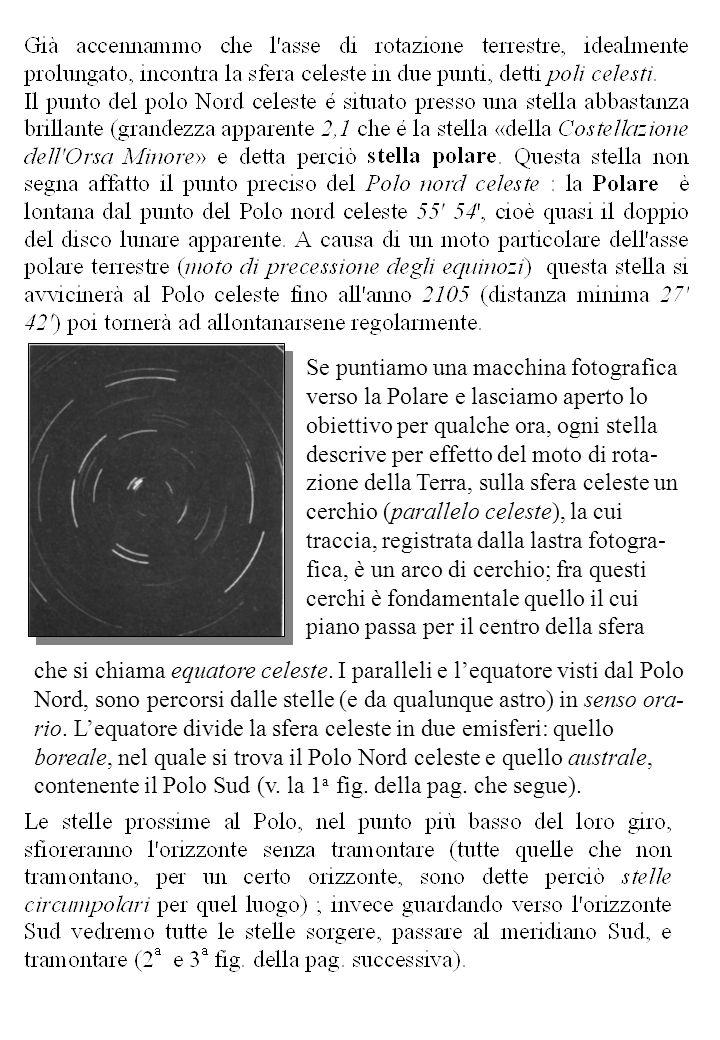 Se puntiamo una macchina fotografica verso la Polare e lasciamo aperto lo obiettivo per qualche ora, ogni stella descrive per effetto del moto di rota- zione della Terra, sulla sfera celeste un cerchio (parallelo celeste), la cui traccia, registrata dalla lastra fotogra- fica, è un arco di cerchio; fra questi cerchi è fondamentale quello il cui piano passa per il centro della sfera che si chiama equatore celeste.