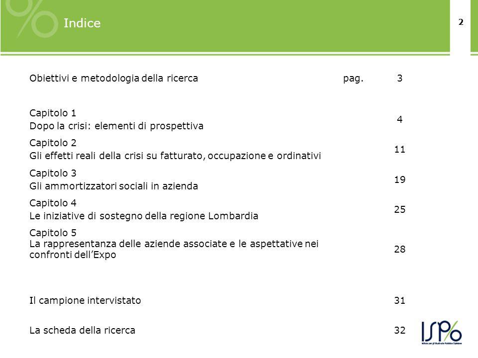 2 Indice Obiettivi e metodologia della ricercapag.3 Capitolo 1 Dopo la crisi: elementi di prospettiva 4 Capitolo 2 Gli effetti reali della crisi su fa
