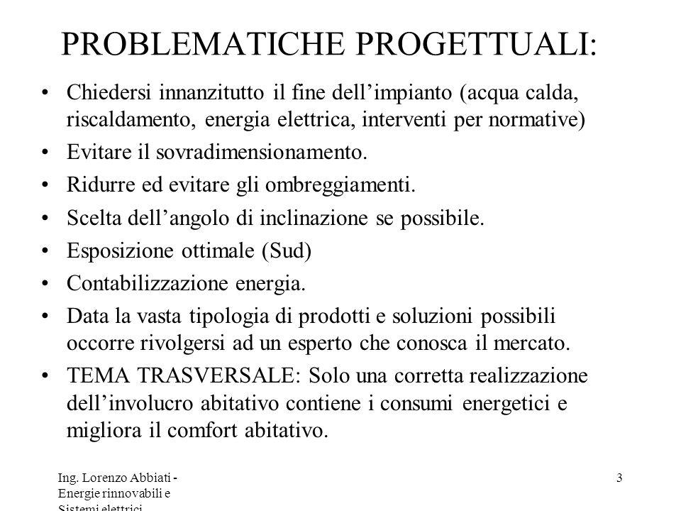 Ing. Lorenzo Abbiati - Energie rinnovabili e Sistemi elettrici 3 PROBLEMATICHE PROGETTUALI: Chiedersi innanzitutto il fine dellimpianto (acqua calda,