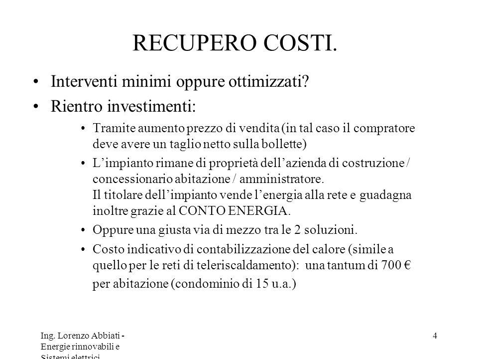 Ing. Lorenzo Abbiati - Energie rinnovabili e Sistemi elettrici 4 RECUPERO COSTI. Interventi minimi oppure ottimizzati? Rientro investimenti: Tramite a