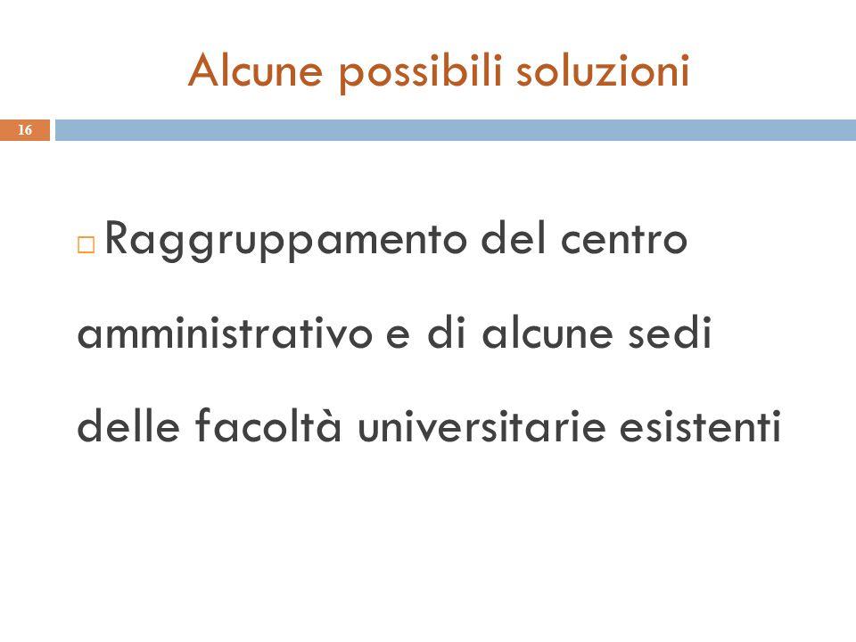 Alcune possibili soluzioni 16 Raggruppamento del centro amministrativo e di alcune sedi delle facoltà universitarie esistenti