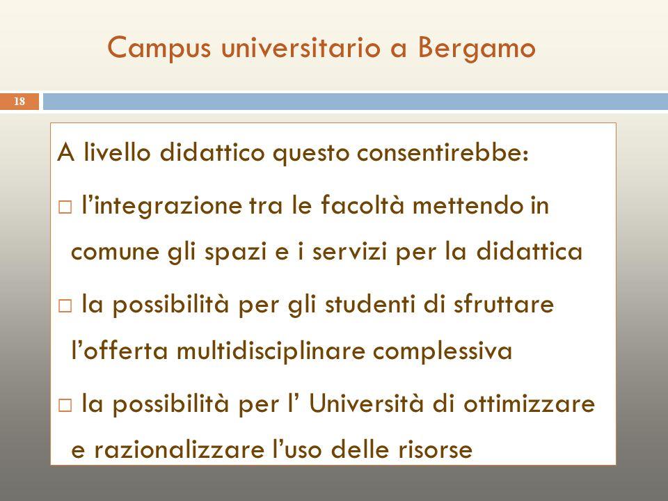 18 A livello didattico questo consentirebbe: lintegrazione tra le facoltà mettendo in comune gli spazi e i servizi per la didattica la possibilità per gli studenti di sfruttare lofferta multidisciplinare complessiva la possibilità per l Università di ottimizzare e razionalizzare luso delle risorse Campus universitario a Bergamo