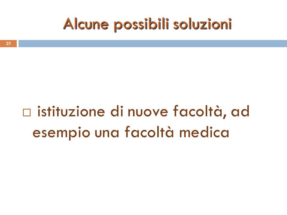 Alcune possibili soluzioni 25 istituzione di nuove facoltà, ad esempio una facoltà medica
