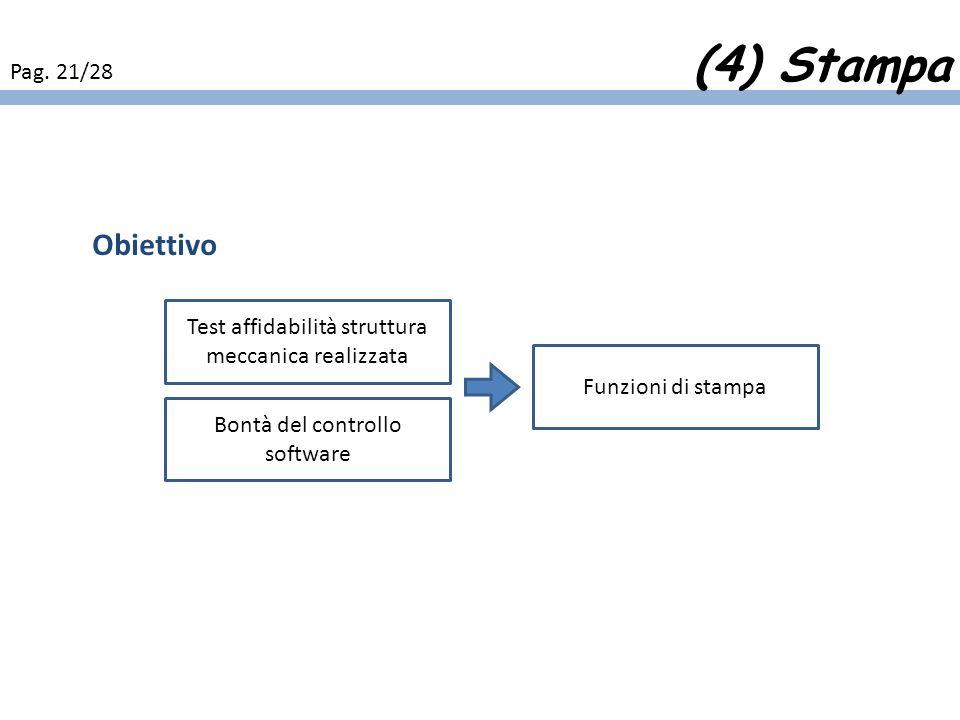Obiettivo Per valutare laffidabilità della struttura meccanica realizzata e la bontà del controllo software si creano delle funzioni di stampa che avv